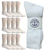 Yacht & Smith Men's King Size Premium Cotton Crew Socks White Size 13-16