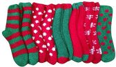 excell Womens Fuzzy Socks Crew, Warm Butter Soft, 12 Pair Pack, Christmas, 9-11