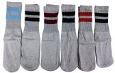 6 Pairs of excell Children's Striped Cotton Tube Socks Grey Stripes, Referee Style, Boys Girls, Size 6-8