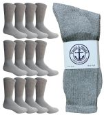 12 Pairs of WSD Mens Cotton Crew Socks, Solid, Athletic (Grey)