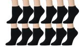 Women's Low Cut Socks Cotton No Show Ankle Socks (12 Pairs - Many Styles) (Black w/ Gray Heel)