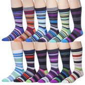 12 Pairs of excell Mens Fashion Designer Striped Dress Socks #2900
