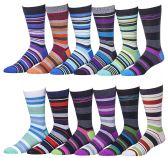 12 Pairs of excell Mens Fashion Designer Dress Socks, Cotton Blend (2900)