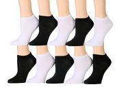 10 Pairs of WSD Womens Ankle Socks, No Show Athletic Sports Socks (Assorted White / Black)