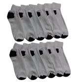 12 Pairs of Men's Quarter Length Low Cut Ankle Socks, Cotton (White with black heel and toes)