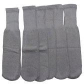 6 Pairs of excell Children's Cotton Tube Socks Grey, Referee Style, Boys Girls, Size 6-8