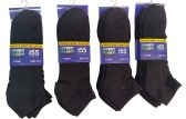 12 Pack Of excell Mens Black Quarter Length Terry Sole Super Soft Ankle Socks