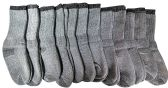 12 Pairs of excell Childrens Mens Womens Merino Wool Socks, Gray, Sock Size 6-8