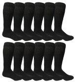 12 Pairs of excell Mens Slouch Socks Black, Sock Size 10-13