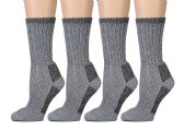 4 Pairs of Excell Womens Merino Wool Socks for Hiking, Camping, Backpacking (9-11, Gray)
