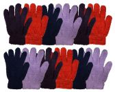 12 Pairs Of excell Womens Soft Warm And Fuzzy Solid Color Winter Gloves