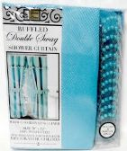 Double Swag Fabric Shower Curtain with Vinyl Liner and 12 Roller Shower Rings (Turquoise