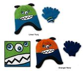 Wholesale Sock Deals 24 Pack Of WSD Toddler Fleece Lined Earflap Hat & Magic Glove Sets - Monster Designs