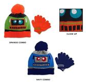 Wholesale Sock Deals 24 Pack Of WSD Toddler Boy's Pom Pom Hat & Magic Glove Sets - Robot Designs