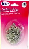 100 Piece Assorted Sizes Nickel Plated Steel Safety Pins