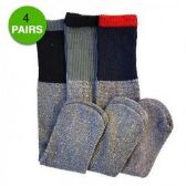 4 Pair Thermal Socks Work Boot Warm All Season Size 10-13