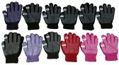 12 Pair excell Womens Winter Gripper Glove With Pop Off Fingers For Texting