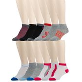 12 Pairs of WSD Mens Ankle Socks, No Show Athletic Sports Socks, Assorted (Assorted Multicolor)