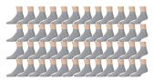 48 Pairs of Kids Sports Ankle Socks, Wholesale Bulk Pack Athletic Sock for Girls and Boys, by excell (Gray, 6-8)