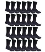 24 Pairs of Mens Sports Crew Socks, Wholesale Bulk Pack Athletic Sock, by excell (Black, 10-13)