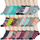 24 Pairs of WSD Womens Ankle Socks, Low Cut Sports Sock - Assorted Styles (Aztec Prints, 9-11)