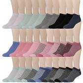 30 Pairs of WSD Womens Ankle Socks, Low Cut Sports Sock - Assorted Styles (Assorted with Mesh Tops)