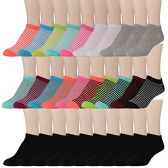 30 Pairs of WSD Womens Ankle Socks, Low Cut Sports Sock - Assorted Styles (Bright Stripes)
