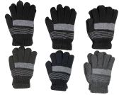 6 Pairs of Excell Solid Striped Wool Gloves, Mens Womens, Stretchy