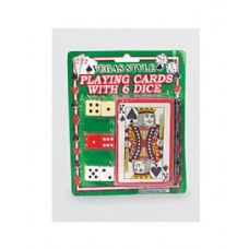 Vegas style playing card with dice