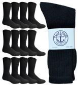 Yacht & Smith Men's King Size Premium Cotton Crew Socks Black Size 13-16