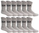 12 Pairs of WSD Mens Cotton Crew Socks, Solid, Athletic (Gray USA Print)