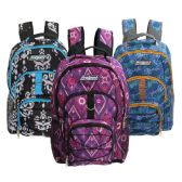 "Wholesale 18"" 3 Pocket Backpacks in 3 Assorted Prints"
