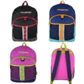 """Wholesale 17"""" Sport Backpacks for Kids in 3 Assorted Colors"""
