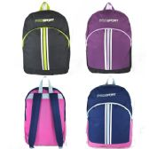 """Wholesale 17"""" Sport Backpacks for Kids in 3 Colors"""