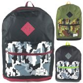 """Wholesale 17"""" Backpacks in Black and Camo Design Assortment"""