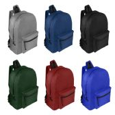 """19"""" Wholesale Basic Backpack in 6 Assorted Colors"""