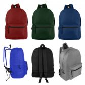 "17"" Wholesale Basic Backpack in 6 Assorted Colors"