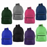 """17"""" Wholesale Basic Backpack 8 Assorted Colors"""
