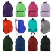 """17"""" Basic Backpack in 12 Assorted Colors"""