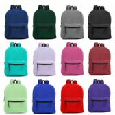 """15"""" Wholesale Basic Backpack in 12 Assorted Colors"""