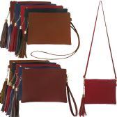 Large horizontal faux leather cross body with a tassel, wristlet and cross body strap.