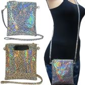 Holographic cross body bag with a back pocket to fit any size cell phone