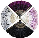 Sequinned & Embroidered Folding Hand Fans