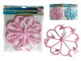 Flower Shaped Clothes Laundry Drying Rack With 8 Clips. Blue, Pink