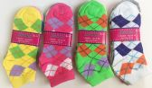 Woman grid socks/color assorted
