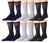 12 Pairs Unisex White Diabetic Socks for Neuropathy, Edema, Circulation, Comfort, by excell (10-13, Assorted (Black, Heather Grey, Charcoal Grey))