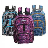 "18"" 3 Pocket Backpacks in 3 Assorted Prints - Case of 24 - B6353-ASST-24"