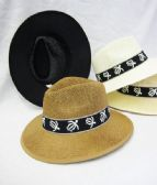Mens Straw Fedora Hat With Turtle