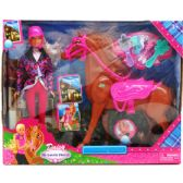 """12"""" DOLL W/ 12"""" HORSE & ACCSS IN WINDOW BOX, 2 ASSRT"""