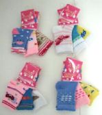 Baby girls printed crew socks, size 0 to 12 months, assorted styles